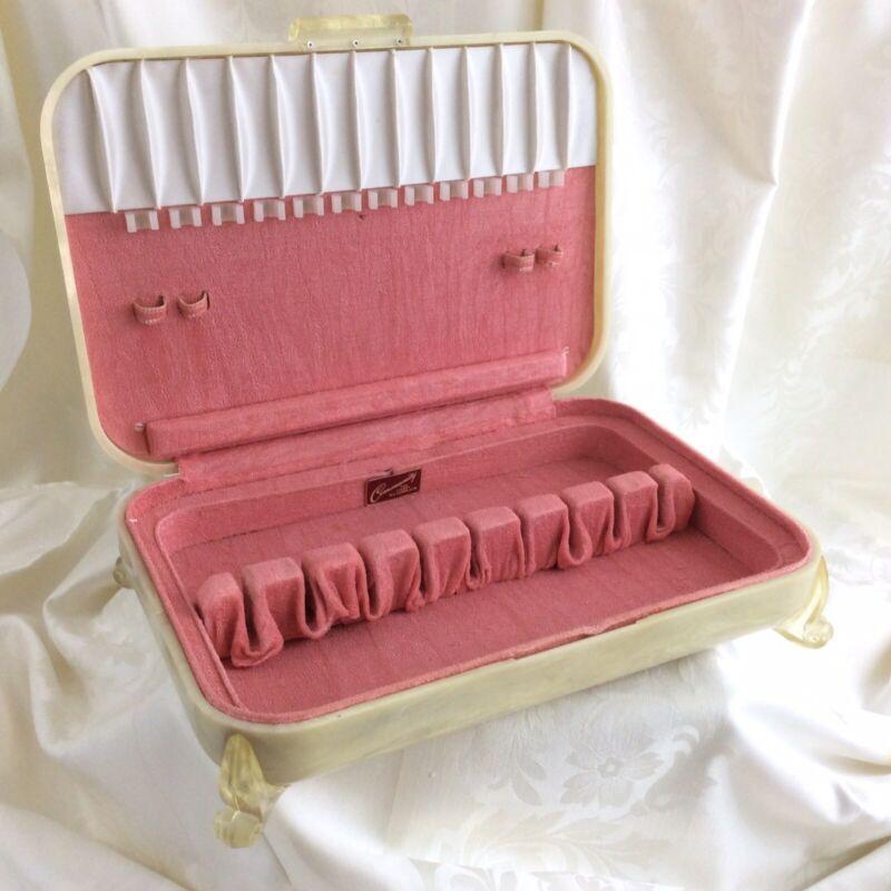ART DECO Bakelite Lucite Silver Flatware Storage Chest Ivory/pink 1950s w/Feet c