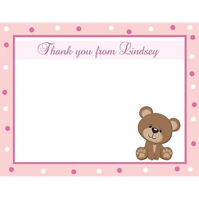Personalized Baby Shower Thank You Cards (20 Personalized Baby Shower Thank You Cards - Teddy Bear - Pink Polka Dot)