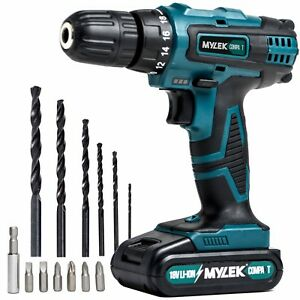 18V Cordless Drill Driver Set Combi Lithium Ion Screwdriver LED Worklight