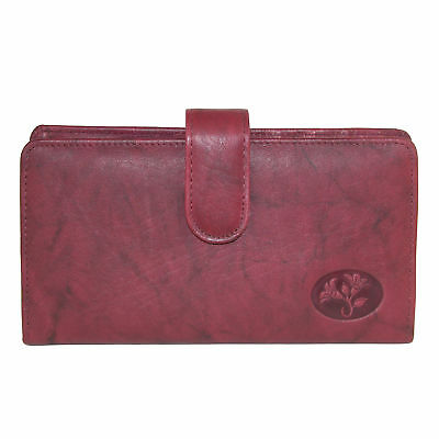 New Buxton Women's Leather Slim Floral Embossed Checkbook Cover Wallet (Leather Embossed Checkbook Cover)