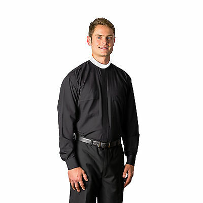 - MDS 8000 Cottonrich Black Neckband (Full Collar) LS Clergy Shirt