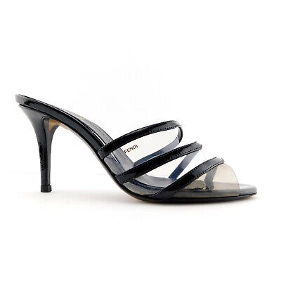 FENDI Size 7 Black Patent & Smoke PVC Slide Heels Pumps Sandals Shoes 37 EUR
