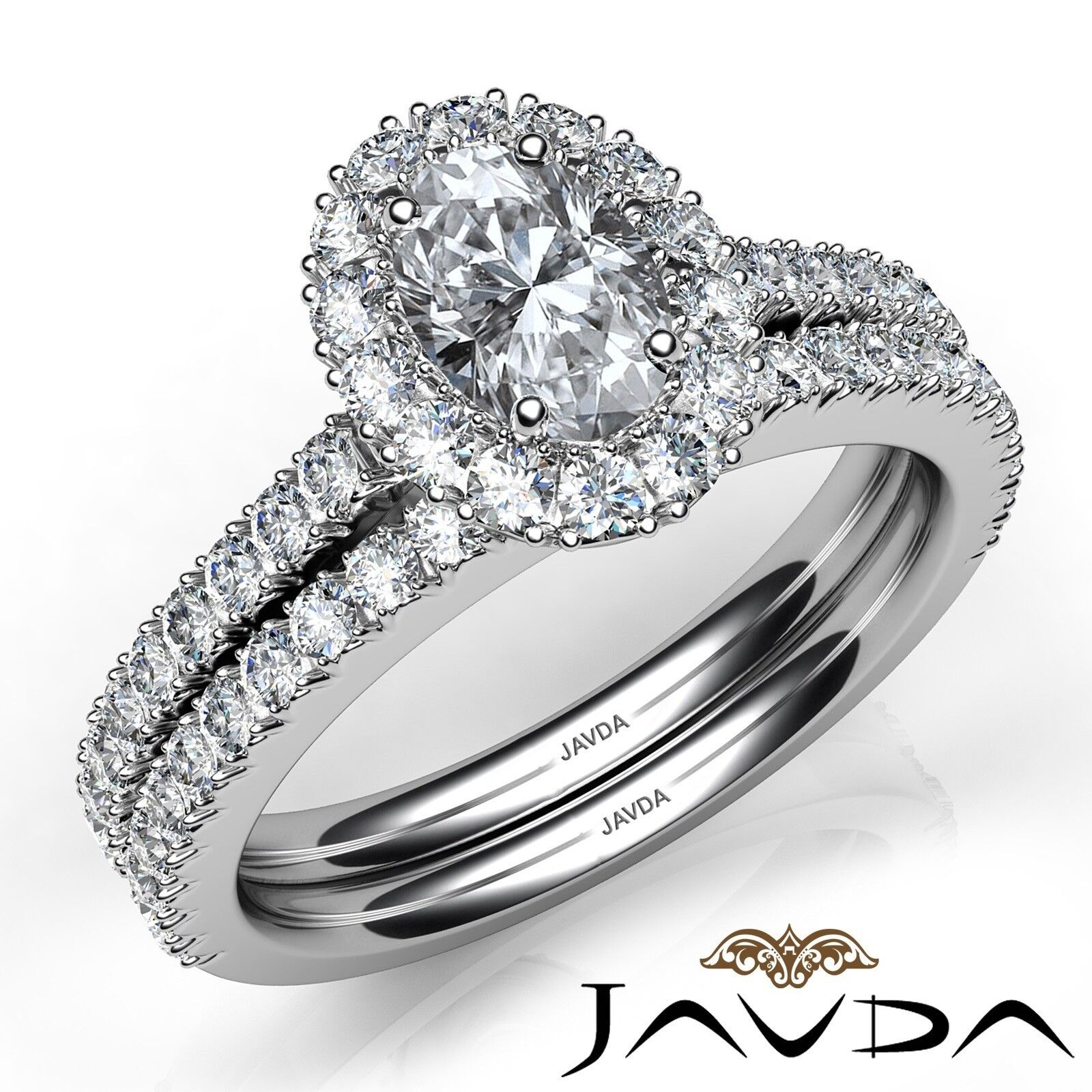 2.21ctw Halo Bridal French Pave Oval Diamond Engagement Ring GIA F-VVS2 W Gold 1