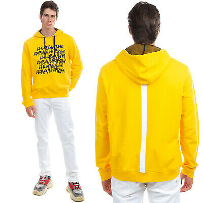 RRP €220 LES HOMMES URBAN Hoodie Size XL Coated Logo Front Contrast Back Stripe