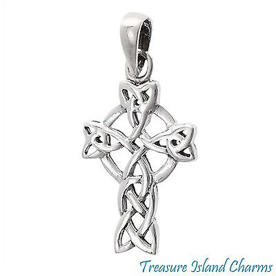 Celtic Endless Knot Christian Cross .925 Solid Sterling Silver Pendant ()