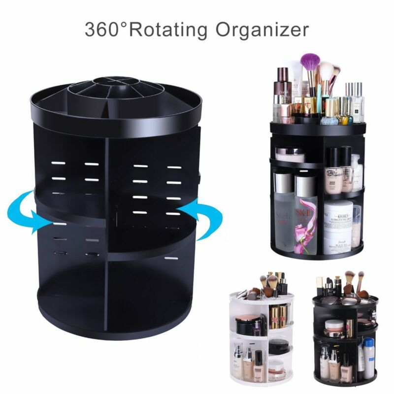 360 Degree Makeup Storage Box Case Rotating Cosmetics Jewelry Organizer Holder