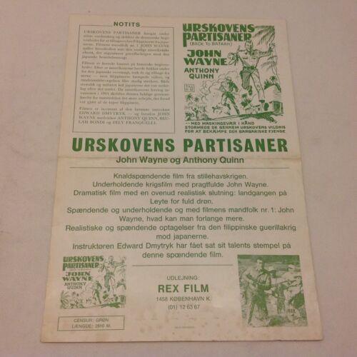 Back to Bataan John Wayne Anthony Quinn Bondi 1945 Danish Movie Press Release