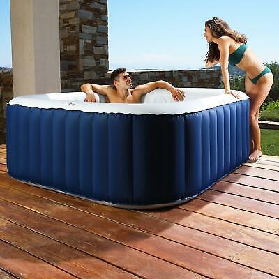 Garden Jacuzzi Bubble Pool 4 Person (2+2) Square Inflatable Hot Tub SPA Set Kit