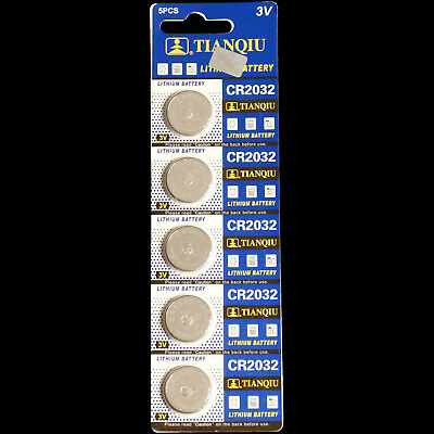 Tianqui 3 Volt Lithium Motherboard CMOS Button Battery Type CR2032 (5-pack)