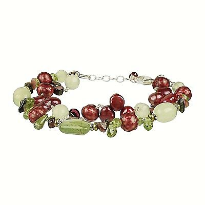 Cultured Fresh Water Pearl & Prehnite Silver Chain Bracelet Freshwater Cultured Pearl Chain Bracelet