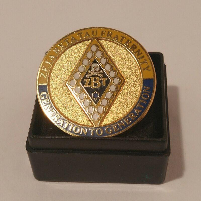 "Zeta Beta Tau Fraternity Pin Gold Blue White Generation To Generation 1"" wide"