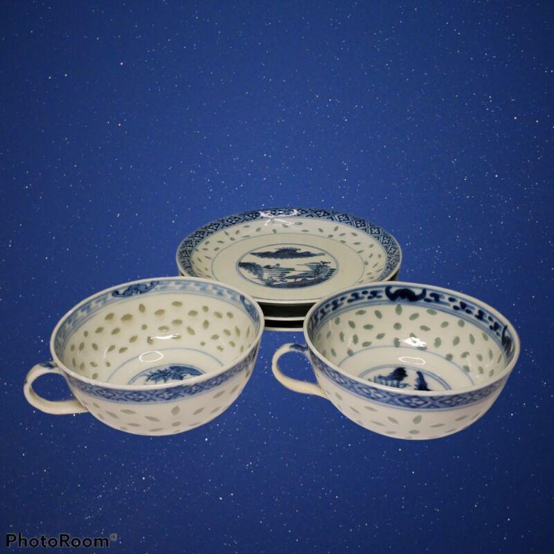 Rice Eyes Porcelain Blue & White Dessert Plates (3) and Tea Cups (2) Used Vtg