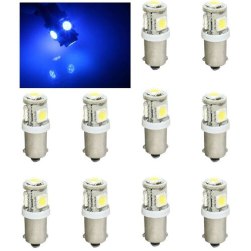 (10) Blue 5-LED Dash Instrument Panel Cluster Gauge Clock Glove Box Light Bulbs