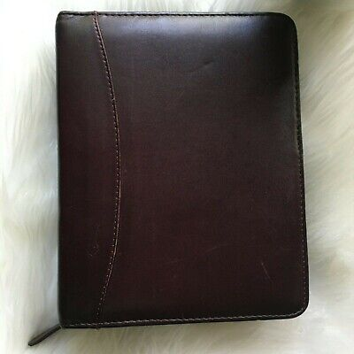 Classic 1.5 Franklin Quest Covey Leather Planner Brown Burgundy 6.5 X 8.75