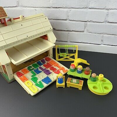 Fisher Price play family school 1971 wokring bell Almost complete