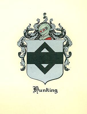 Great Coat of Arms Hunking Family Crest genealogy, would look great framed!