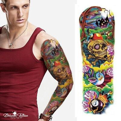 Temporary Tattoo Sleeve - 8 Ball Psychedelic Skull Halloween Mens Womens Kids - Halloween Tattoo Sleeve