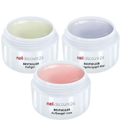 UV-Gel Spar Pack Set 3 x 15ml HaftGel + AufbauGel rosa + finish VersieglerGel
