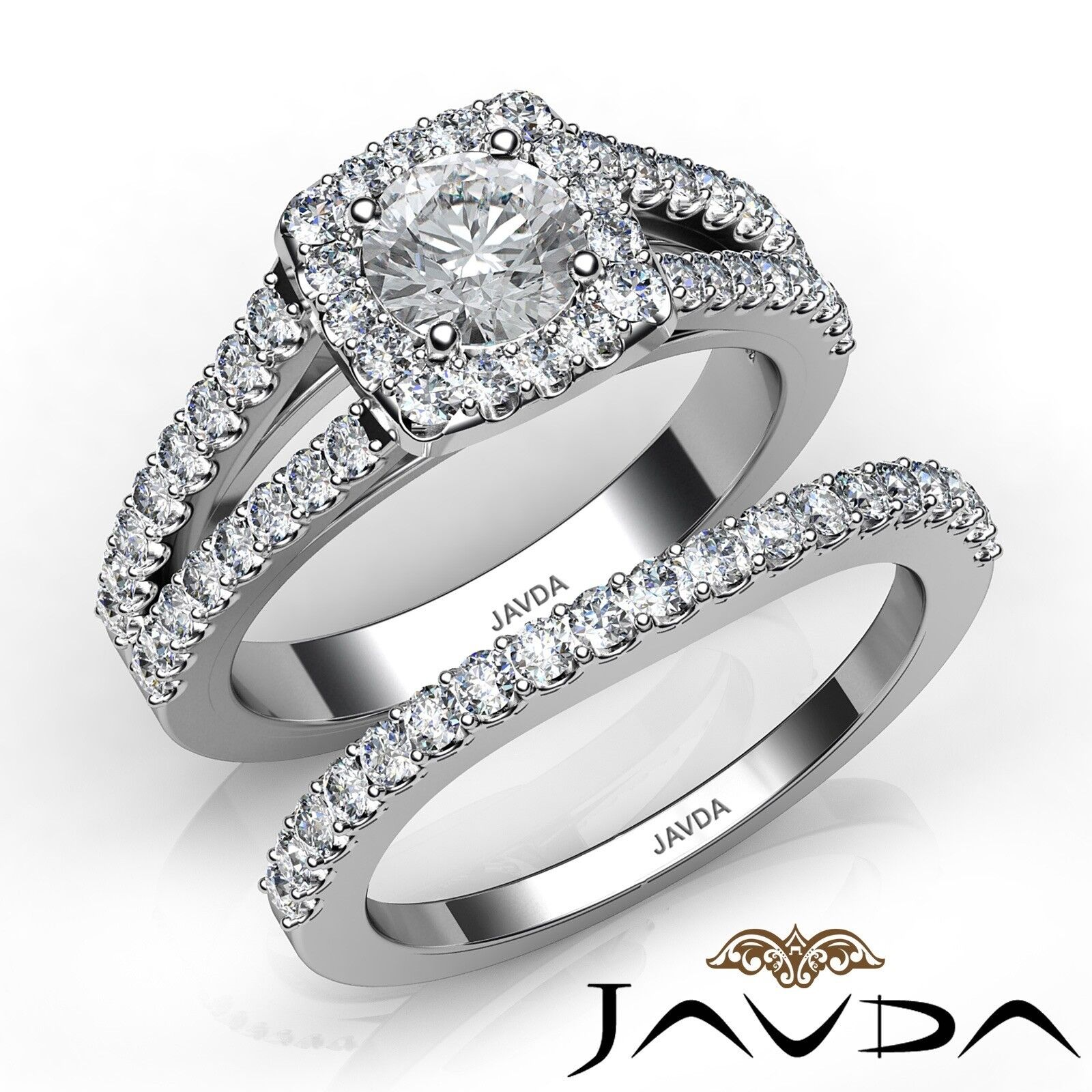 1.71ctw Charming Halo Bridal Set Round Diamond Engagement Ring GIA F-VS2 W Gold