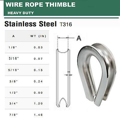 "SS316 HEAVY DUTY Wire Rope Thimble 1/8"", 3/16"", 5/16"", 3/8"", 1/2"", 3/4"", 7/8"""