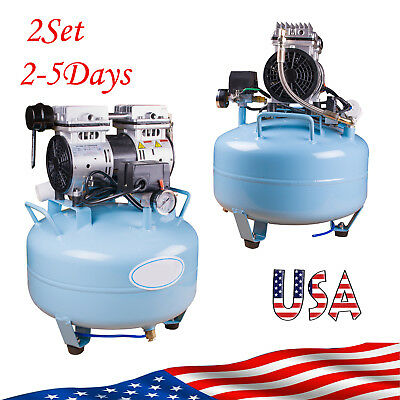 2 Set Dental Medical Air Compressor Silent Quiet Noiseless Oil Free Oilless Usa