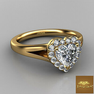 Halo French Pave Set Heart Diamond Engagement Split Shank Ring GIA G VS1 0.70 Ct 5
