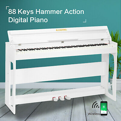 Digital Piano 88-Key Weighted Hammer Action Keyboard w/3 Pedals+H Stand White