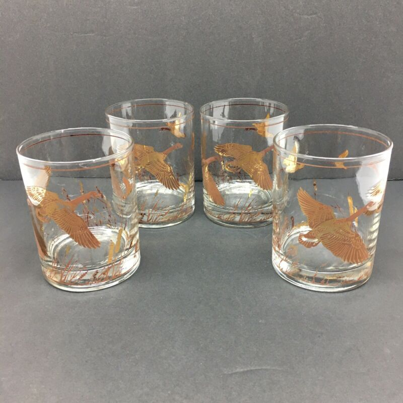 Culver Gold Old Fashioned Glasses Set of 4 Geese 8 oz Vntg MCM Bird Barware