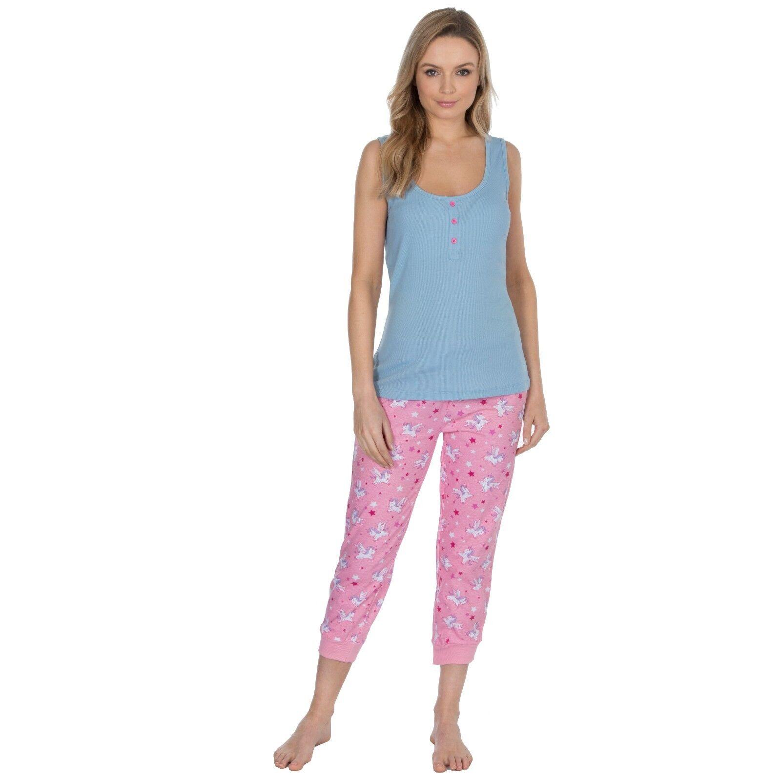 Damen Nachtwäsche Pyjama Trikot Rippen Ärmelloses Top, dreiviertel Länge Hose