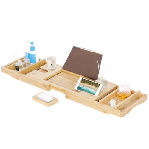 Bathtub Caddy Bamboo Bath Tub Rack Tray Bathroom Cloth Book/Pad/Tablet Holder Bath