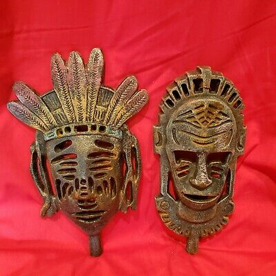 Pair Metal Cast Iron Tribal Mask Wall Decor Heavy Lightly Painted