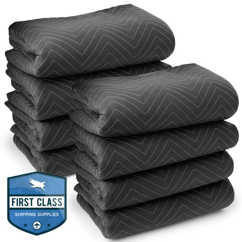 "8 Moving Blankets Furniture Pads - Ultra Thick Pro - 80"" x 72"" Black"