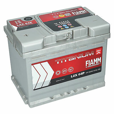 Delta 10 Block (Autobatterie 12V 64Ah 610A/EN Fiamm Titanium PRO Starterbatterie L2X64P +Links)