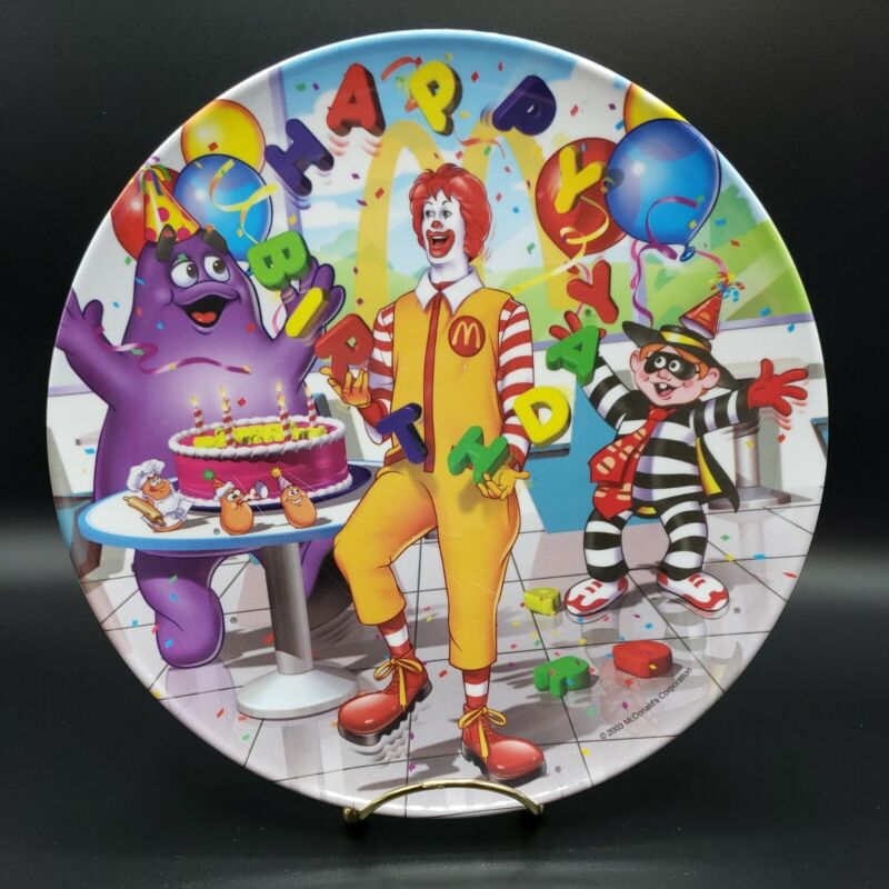 2003 Ronald McDonalds Plate plastic Happy Birthday Meal Sun Coast Collector