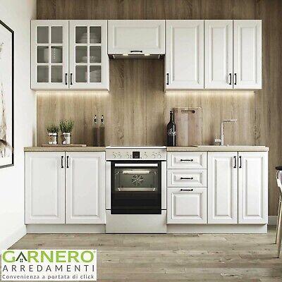 Cucina classica shabby completa bianca componibile OXFORD lineare 240 cm design