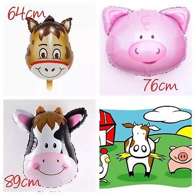JUMBO Animal Farm Barn Helium Foil Balloons Party Supplies Cow Pig Donkey Lolly ()