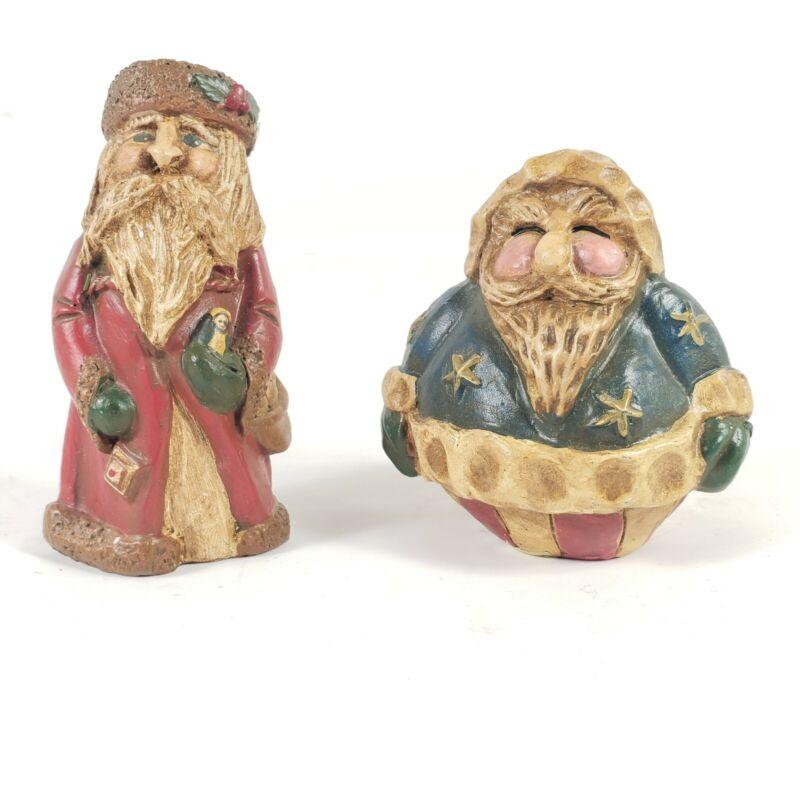 Enesco Lefever Santa Figurines Lot of 2 Folk Art Christmas Decor EUC