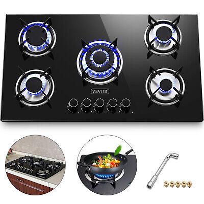 """36"""" Tempered Glass Gas Cooktop 5 Burners Kitchen Cooktop Electric Ignite Black"""