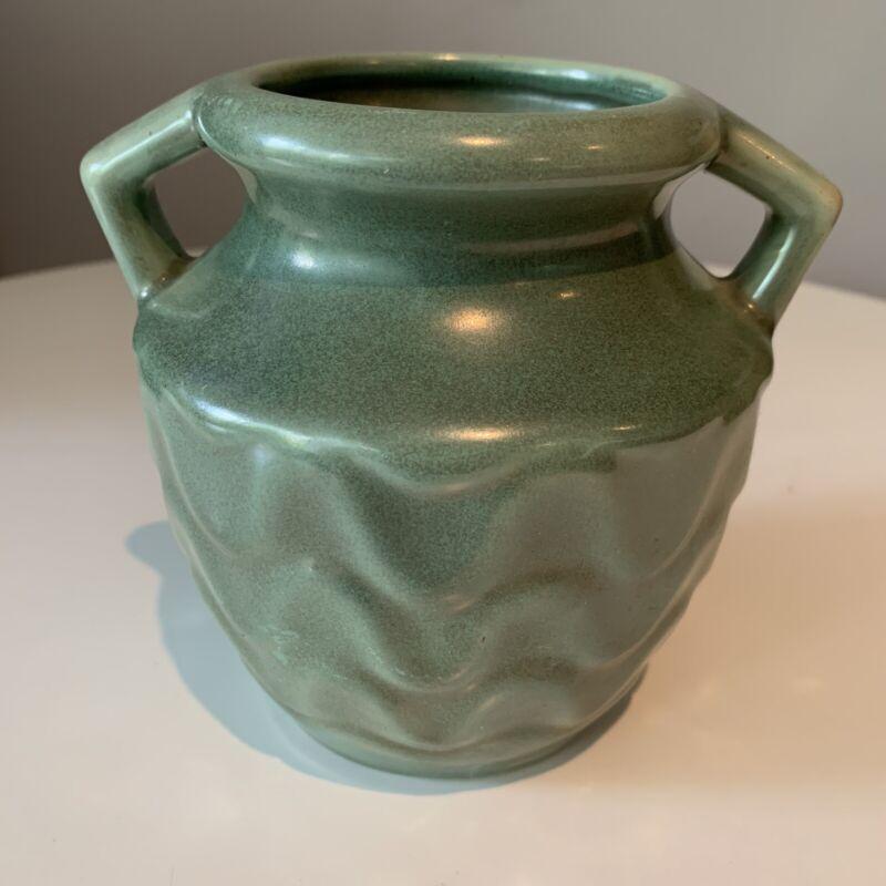 Camark Green Handled Pottery Vase W/wavy Pattern