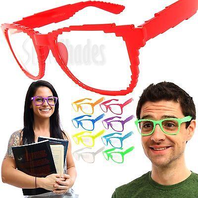 8 BIT Pixel Clear Lens Unisex Glasses NERD GEEK Classic Retro Vintage Sunglasses - Pixel Nerd Glasses