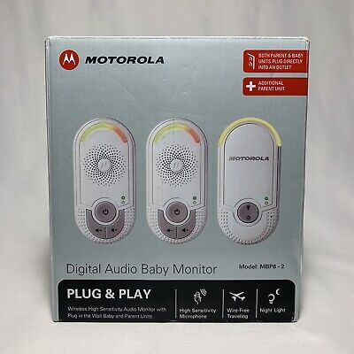 Motorola MBP8 (2) Digital Audio Baby Monitor Plug & Play Used In Box