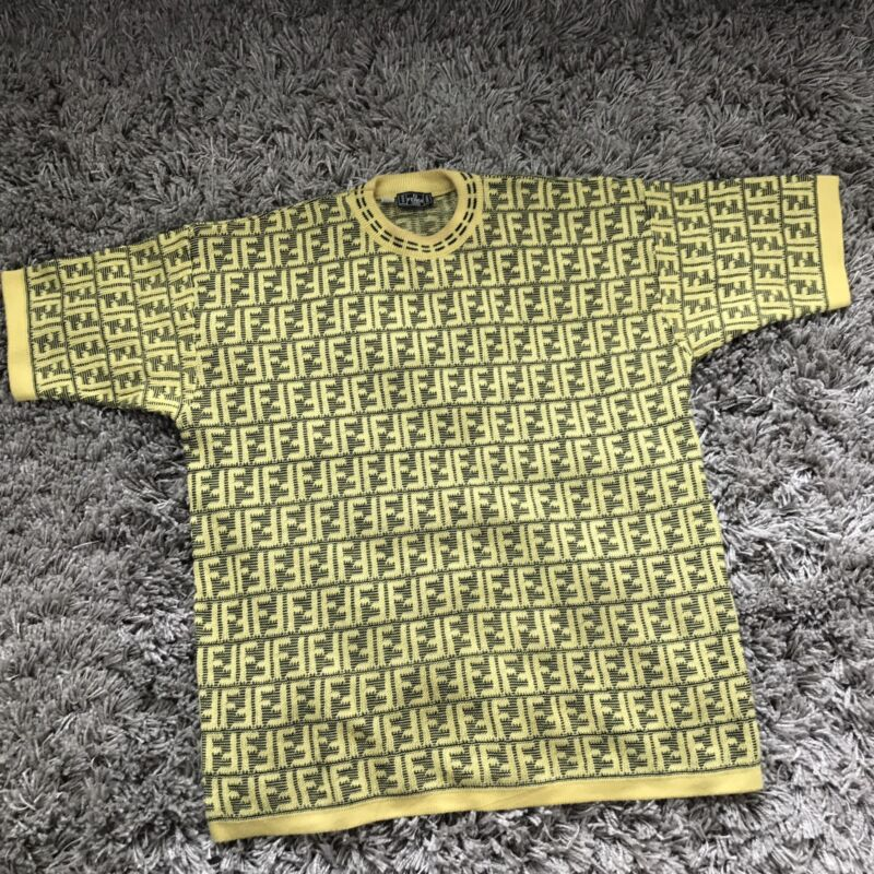 FENDI Logo Sweater Vintage Size 3XL Men's Short Sleeve Bright Yellow Black ITALY