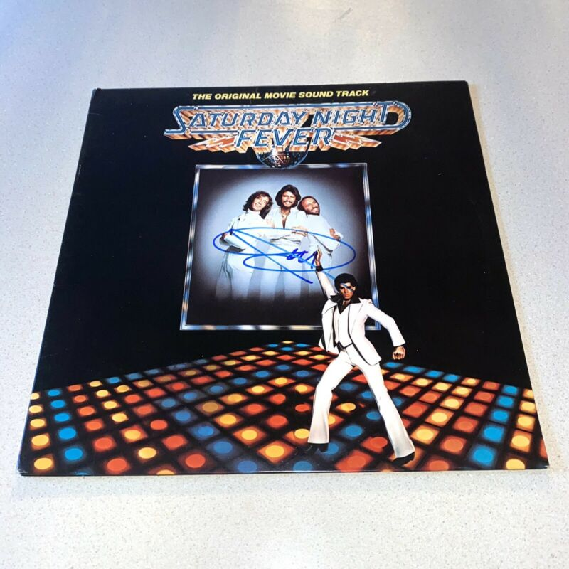 BARRY GIBB signed autographed SATURDAY NIGHT FEVER ALBUM BEE GEES BECKETT Z11707