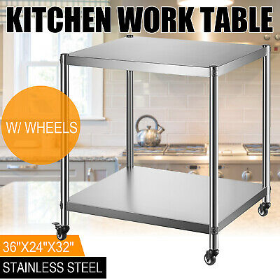 36 X 24 Stainless Steel Kitchen Work Table Commercial Restaurant W 4 Wheels