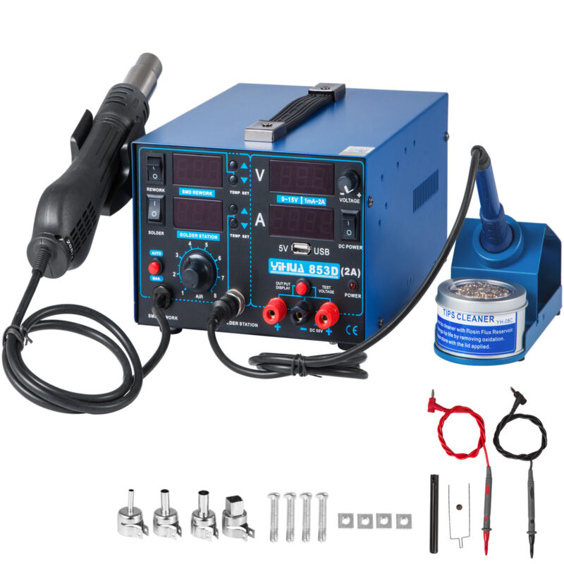 YIHUA 853D-USB Hot Air Gun Soldering Iron DC Power Supply 4-in-1 Rework Station