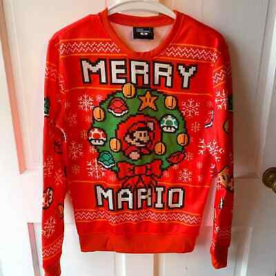 Super Mario Bros Nintendo Merry Mario Christmas Holiday Sweater Size S