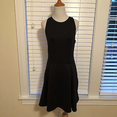 NWT ABERCROMBIE&FITCH SOLID BLACK SLEEVELESS CUT OUT DRESS - LARGE
