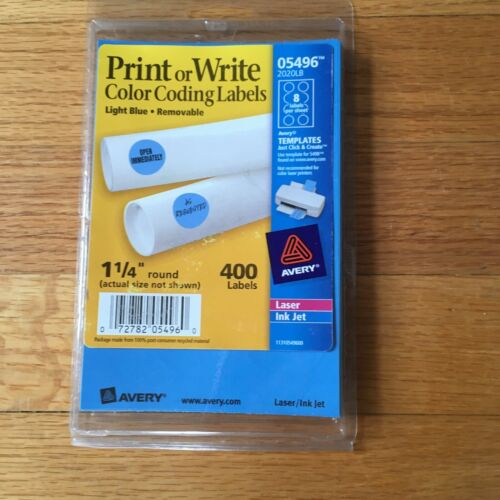 """Printer Circle Label Write Template Removable Adhesive Blue Color 1-1/4"""" Round"""
