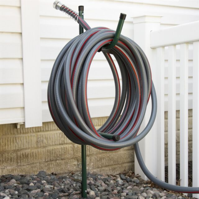 Garden Hose Storage In Ground Stake Metal Bracket Holder Hanger New