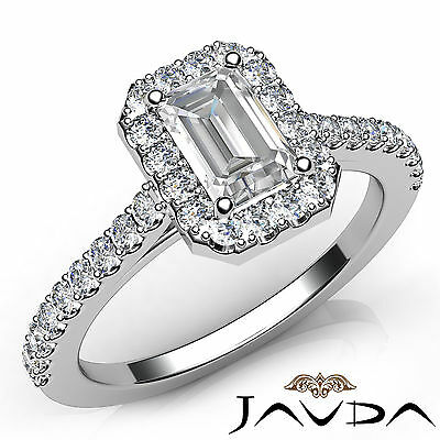 Halo Emerald Diamond Engagement Prong Set Ring GIA Certified I Color VS2 1.21Ct